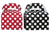 Ladybug Theme Paper Gable Favor Boxes- Red White Black - Polka Dot - 24 Count