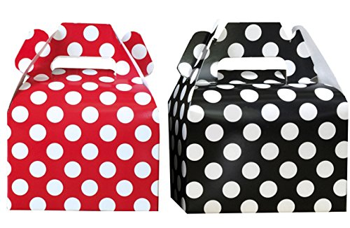 Ladybug Theme Paper Gable Favor Boxes- Red White Black - Polka Dot - 24 (Favor Gable Boxes)