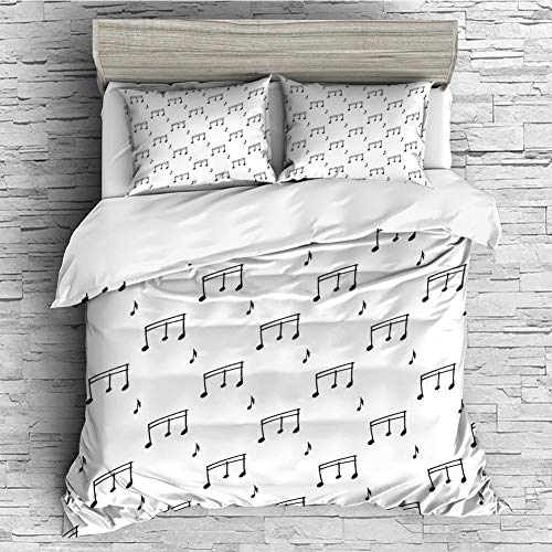 Soft Luxurious 4 Pcs Decorative Quilt Duvet Cover Set Comforter Cover Set(King Size) Music,Musical Notes Themed Melody Sonata Singing Songs Clef Tunes Hand Drawn Style Pattern ()