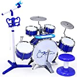 ANTAPRCIS Drum Toy, Piano Drum Set Toy for Kids Boys Girls, Rock Drum with Keyboard Set, Electronic Musical Piano Drum Instrument with Microphone and Stool, Audio Link Mobile MP3 IPad