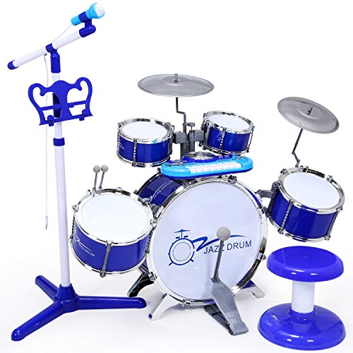 - SGILE Piano Drum Set Toy , Rock Drum with Keyboard Set for Kids Boys Girls, Electronic Musical Piano Drum Instrument with Microphone and Stool,Audio Link Mobile MP3 IPad , Blue