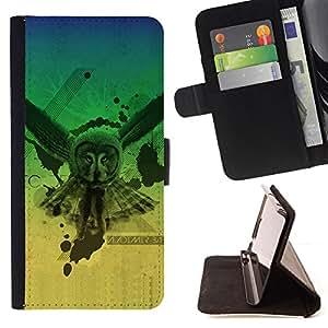 BullDog Case - FOR/Samsung Galaxy S6 EDGE / - / Owl Neon Glow Triangle Illuminati /- Monedero de cuero de la PU Llevar cubierta de la caja con el ID Credit Card Slots Flip funda de cuer