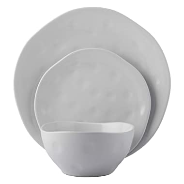 Melange Stoneware 36-Piece Dinnerware Set | Irregular Shape Collection | Service for 12 | Microwave, Dishwasher & Oven Safe | Dinner Plate, Salad Plate & Soup Bowl, White (12 Each)