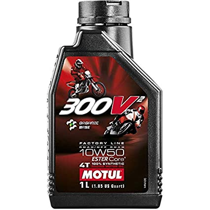 Motul 300v² Ester Core Organic Base 10W-50 Fully Synthetic Engine Oil for  Racing Bikes (1L)