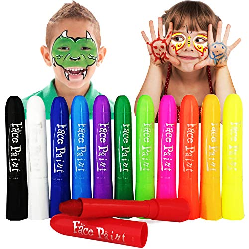 12 Colors Face Paint Crayons, Washable Body Paints for Kids Adult, Ideal for Makeup Costumes Parties Sport Activities by Lasten (12 Colors)