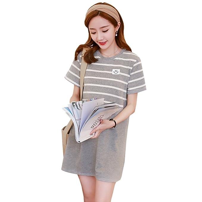 BOZEVON Vestido Lactancia de Mujer Embarazo - Moda Raya Premamá Blusa Maternidad de Manga Corta Verano Camiseta Vestidos: Amazon.es: Ropa y accesorios