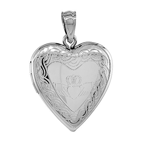 3/4 inch Sterling Silver Claddagh Locket Heart Shape Necklace Celtic Knot Motif, 18 inch RL_30H