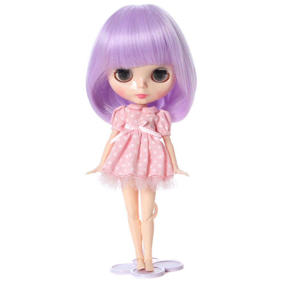 Wigs Only! Babe Purple Lavender Soft Synthetic Blythe Pullip Baby Doll Wigs Leeswig