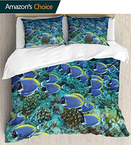 - Ocean 3D Bedding Quilt Set,School of Powder Blue Tang Fishes in The Coral Reef Maldives Deep Seas Reversible Coverlet,Bedspread,Gifts for Girls Women 79