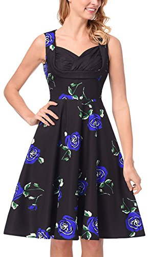 Bestfort Vintage Kleider Damen Sommerkleider VAusschnitt ...