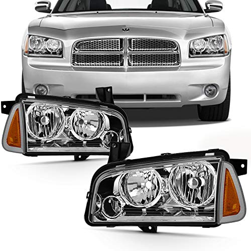 (Fits 2006-2010 Dodge Charger [Halogen Style] Chrome Headlamp Left+Ritght Pair Headlights)