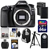 Canon EOS 80D Wi-Fi Digital SLR Camera Body with 64GB Card + Battery & Charger + Backpack + Tripod + Remote + Kit
