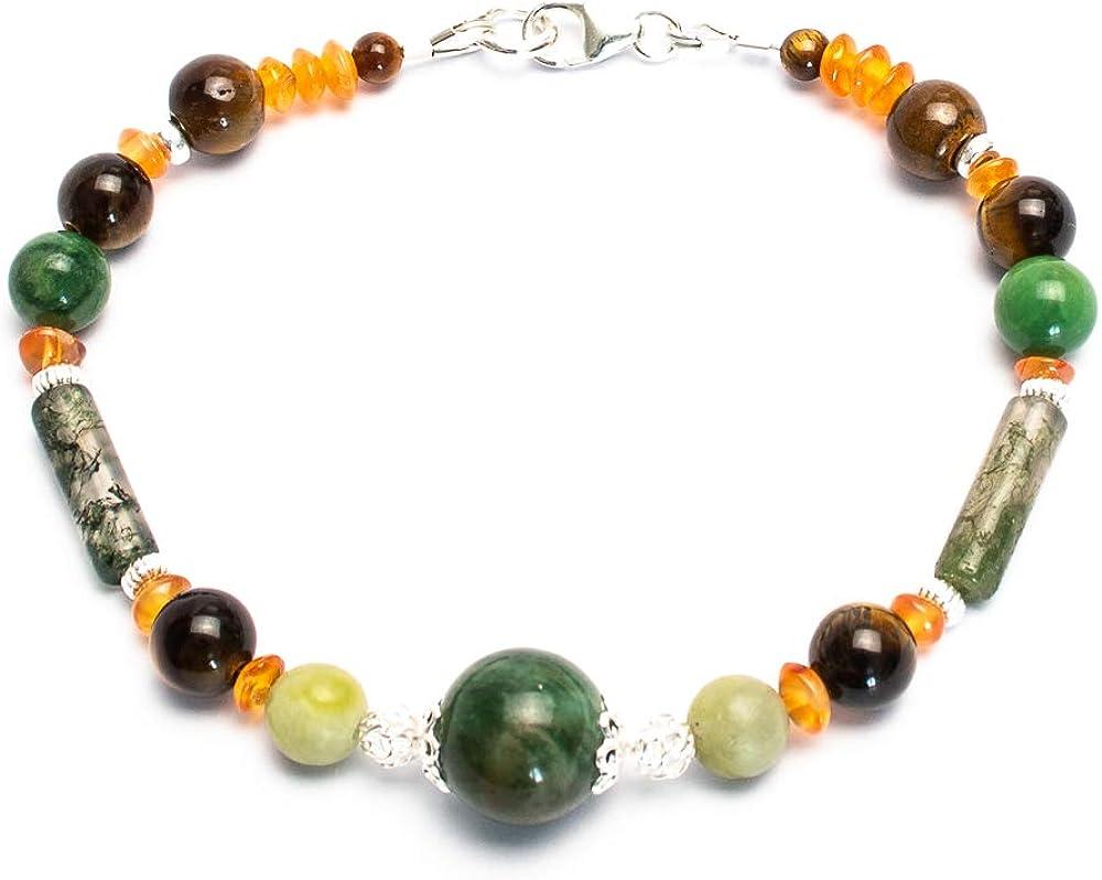 Kimaya Bijoux - Pulsera para mujer hecha a mano, diseño de jade de África, cornalina, ojo de tigre, plata 925