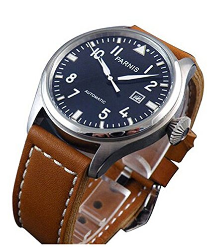 Parnis Flieger Big Pilot Black Dial Calendar Automatic Men's Women's Black Leather Strap Wrist Watch