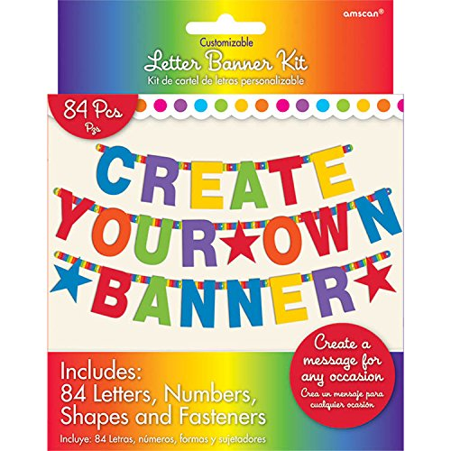 Amscan 120183 Letter Banner One Size Multicolor Multi Sizes 84ct