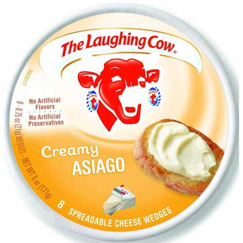 Laughing Cow Creamy Asiago Cheese Wedge, 6 Ounce - 12 per case. by Laughing Cow