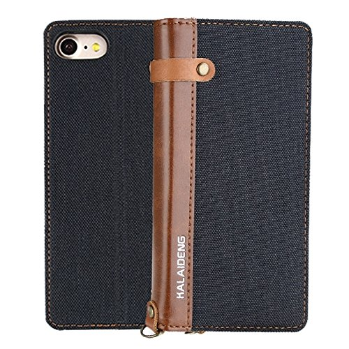 For cellphone Cases, KALAIDENG FUNWEAR X Series for iPhone 7 Linen Leather + TPU Horizontal Flip Leather Case with Card Slots & Holder & Lanyard ( Color : Black ) Kalaideng Leather