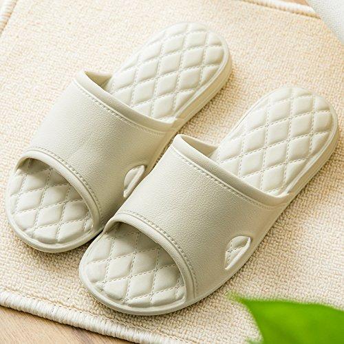 FankouEl suelo del cuarto de baño suaves zapatillas de baño casa de verano parejas masculinas deslizarse en la habitación con un espesor chica ,42-43, estancia zapatos caqui