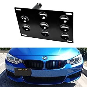 iJDMTOY Euro Style Front Bumper Tow Hole Adapter License Plate Mounting Bracket For BMW F30 F31 F32 F34 F10 G30 G31 3 4 5 Series E84 X1, etc