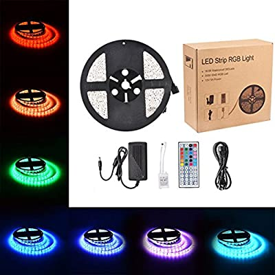 AKDSteel LED Strip Light 16.4ft SMD 5050 RGB 300 LEDs with 44Keys Remote Controller and 12V Power Supply Waterpfoof Color Changing Flexible Kit for Holiday Party Car Home Garden Outdoor Decoration