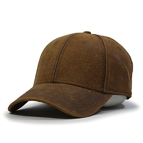 - Vintage Year Heavy Washed Wax Coated Adjustable Low Profile Baseball Cap (Caramel Brown)