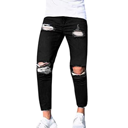 Mens Pockets Solid Ripped Out Skinny Loose Fit Drop-Crotch Harem Denim Pants New
