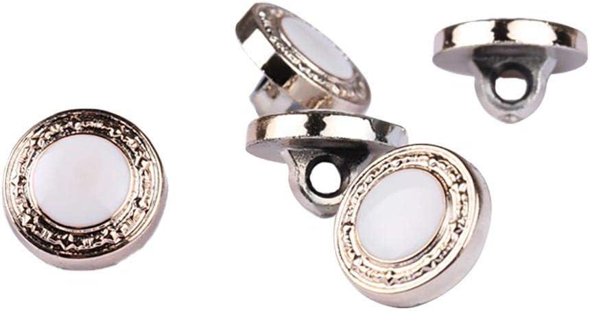 Vaskey 50Pcs Round Metal Clothing Decorative Buttons 13MM