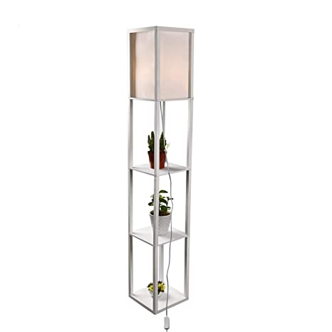Amazon.com: Lámpara de pie con estante LED – Lámpara de pie ...