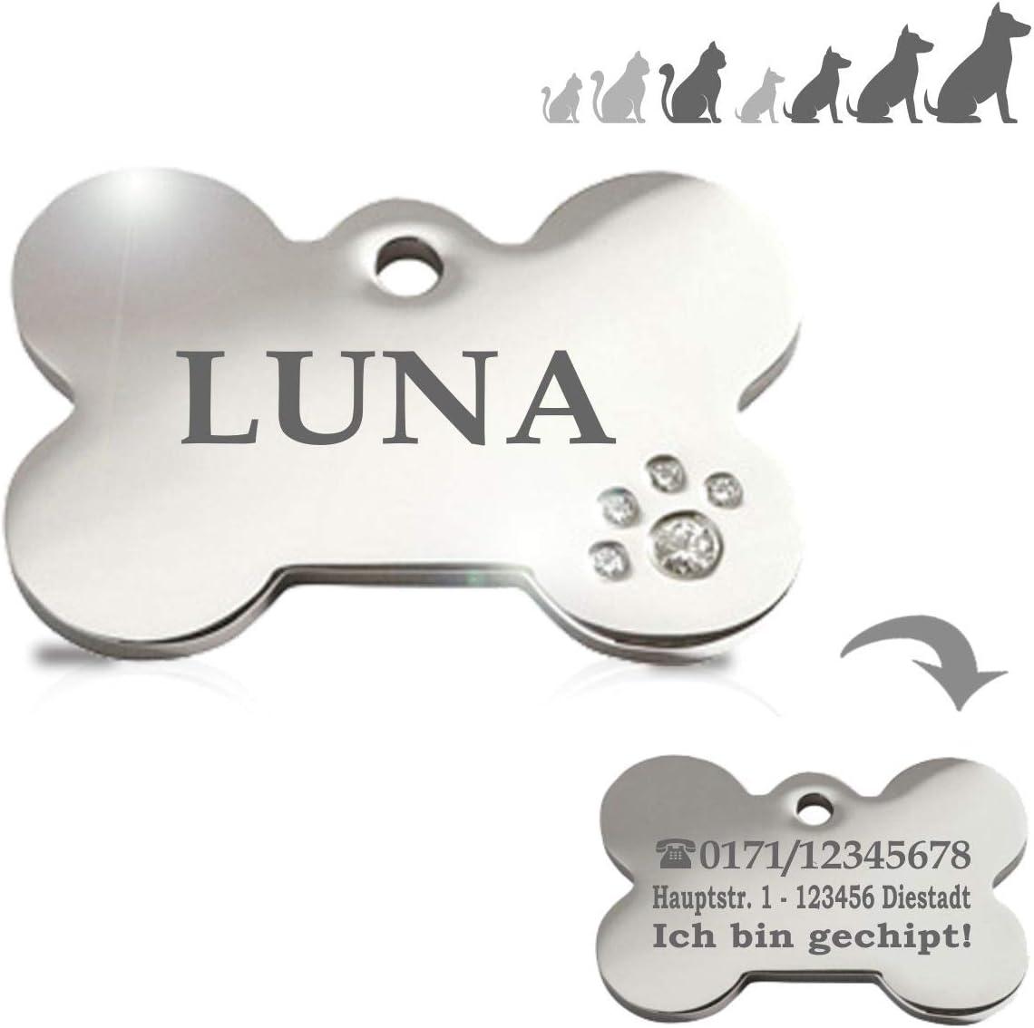 Hueso Acero Deluxe con brillantitos en Forma de Pata Placa Chapa Medalla de identificación Personalizada para Collar Perro Gato Mascota grabada