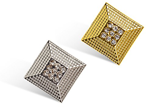 2 Pc Set Tie Tack Set for Necktie, Silver and Gold Tone in Gift Box by Puentes Denver