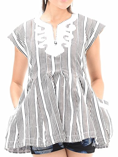 African Print Ladies Flair Top | Kente Dashiki Black and White Striped Handmade Fabric (Medium)