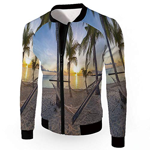 Paradise Quilted Hammock - iPrint Windbreaker Jacket,Tropical Decor,Zipper Sportswear Patchwork Long Sleeve Coat,P