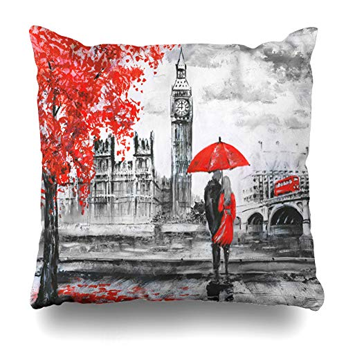 (Kutita Decorativepillows Covers 20 x 20 inch Throw Pillow Covers,Oil Painting Canvas Street View London Pattern Double-Sided Decorative Home Decor Pillowcase Sofa Bedroom Car)