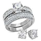 Bellux Style Women's 2-Piece Classic Wedding Engagement Rings Stainless Steel 2.3 Carats Cubic Zirconia Anniversary Promise Ring Band CZ Bridal Set for Her Size 8 + Sterling Silver Earrings