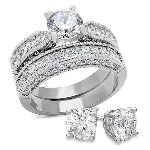 Bellux Style Women's 2-Piece Classic Wedding Engagement Rings Stainless Steel 2.3 Carats Cubic Zirconia Anniversary Promise Ring Band CZ Bridal Set for Her Size 8 + Sterling Silver Earrings by Bellux Style (Image #6)