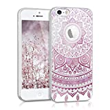 kwmobile Crystal TPU Silicone Case for Apple iPhone SE / 5 / 5S in Design Indian sun dark pink white transparent