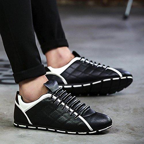 Coloré Baskets Basses Mixte Adulte Baskets Mode Homme (TM) Chaussures Décontractées Chaussures en Cuir Baskets Chaussures Plates-Confortable Respirant Noir 5Cdrk8