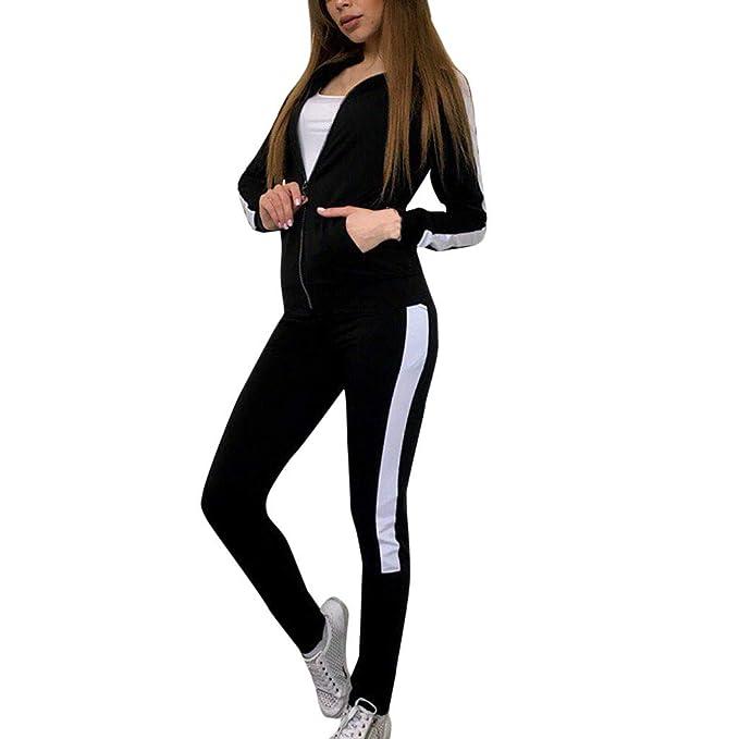 Women Plain Two Piece Set Tracksuit Ladies Side Stripe Long Sleeve Jogging Suit