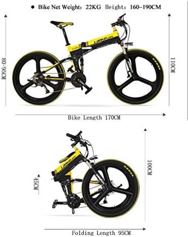 LANKELEISI 26 pulgadas plegable bicicleta eléctrica Motor 240w 48V 10Ah Batería de litio oculta Shimano 27 velocidades Suspensión completa Mountain MTB E-bici con frenos de disco hidráulicos dobles (Negro-blanco + batería adicional):