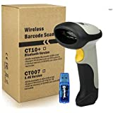 HAMSWAN Bluetooth Wireless USB wired Handheld Bar Code Scanner Barcode Reader for iPhone iPad (support Virtual keyboard), 200 Scans/Second, Single-line 256K Storage