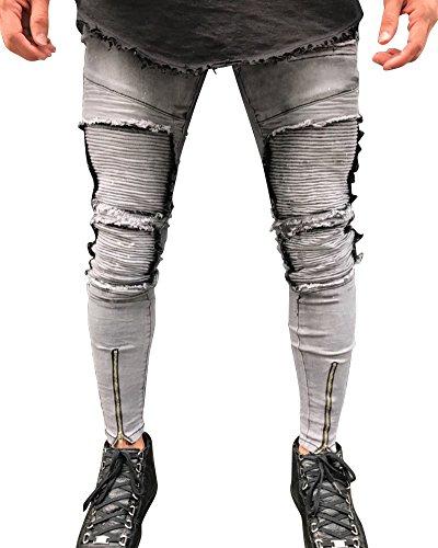 Jeans Stile Slim Casual Fit Patchato Grigio Distrutto Strappati Taglio Skinny Uomo Pantaloni Zv4IxnqFq