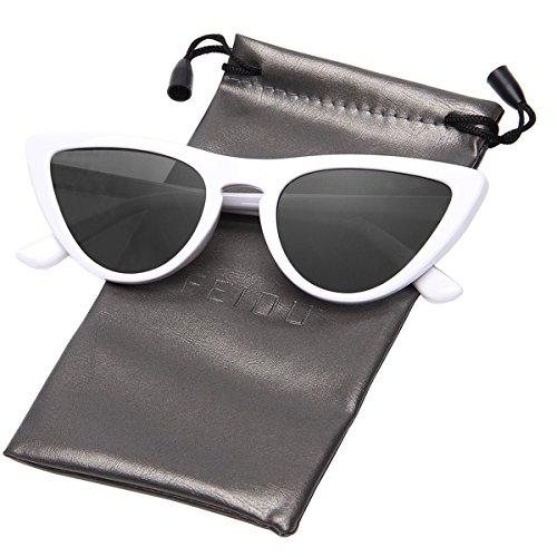 FEIDU Modern Polarized Sunglasses for Women Retro shades Cat-eye Glasses FD 9016 (Black/White, - Sunglasses White Retro