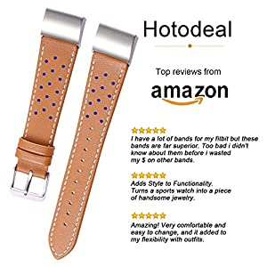 Hotodeal Latest Leather Band for Fitbit Charge 2, Dotted Genuine Leather Wristband with Metal Connectors, Fitness Strap for Men Women, Brown