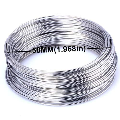 Jammas 0.8MM/50 Loops Metal Wire Coil Steel Beading findings brooches Bouquet Blank Bracelet Bangles DIY Jewelry Making - (Color: 08mm 50loops ()
