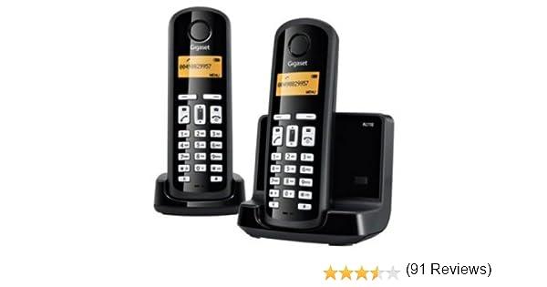 Siemens Gigaset SI-AL110DUO - Teléfono fijo inalámbrico dúo, ECO Dect y con baja radiación, color negro: Amazon.es: Electrónica