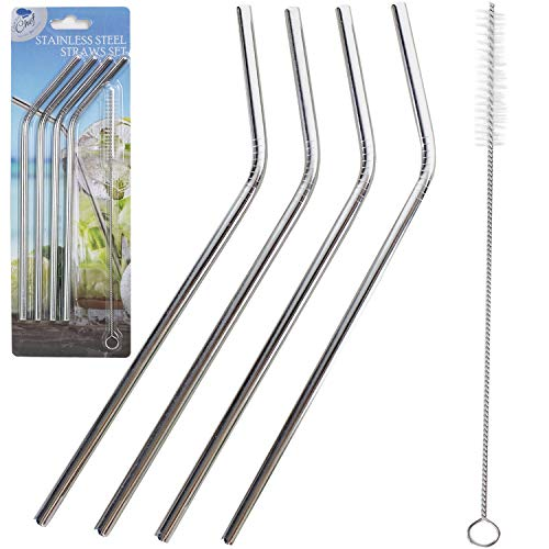 Reusable Stainless Steel Drinking Straws - Set of 4 Eco Friendly Straw Free Clining Brush Included- Metal Stinless Steel Drink Straw by Chuzy Chef