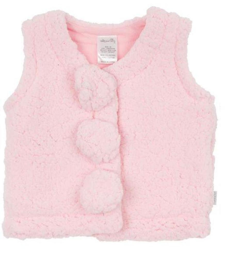 Max and Tilly Baby Girls 0/3m Coral Fleece Gilet - Pale Pink Bright Bots