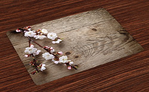 Lunarable Rustic Place Mats Set of 4, Romantic Springtime Cherry Blossom Branch over an Old Table Love Valentine's Day, Washable Fabric Placemats for Dining Room Kitchen Table Decoration, Brown White -