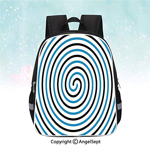 Travel Backpack,Turning Curve Winds Fixed at Center Spiral Conic Helix Figure Hypnotic Image,13