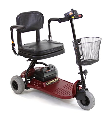 3 Wheel Compact Mobility Scooter (Shoprider Echo 3 Wheel Scooter, Red, 70 Pound)